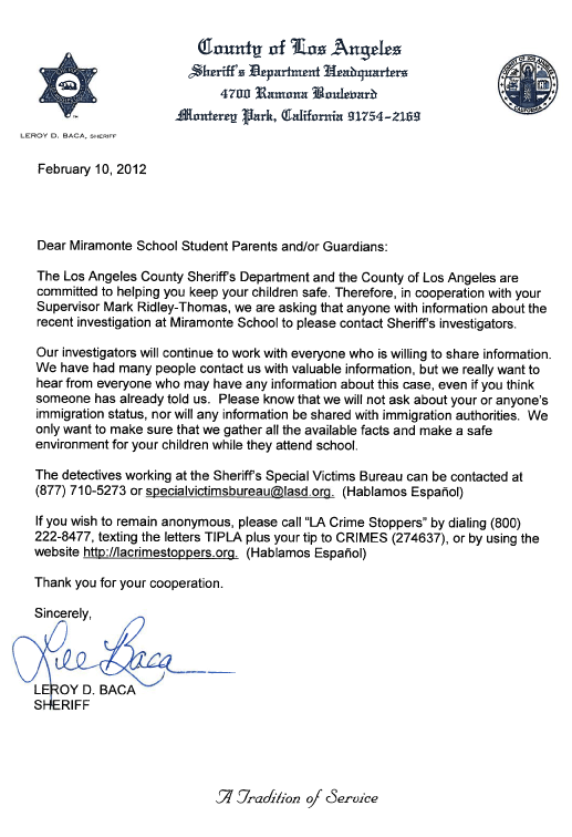 Sheriff Letter To Miramonte Parents We Will Not Ask About Immigration Status 89 3 Kpcc