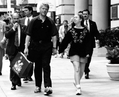 Bill and Chelsea on a stroll in 1993
