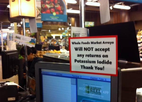 """Whole Foods Market Arroyo Will NOT accept any returns on Potassium Iodide. Thank You!"""